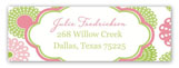 Retro Pink Green Flowers Address Label