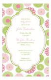 Retro Pink Green Flowers Girl Baby Shower Invitations