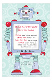 Robot Custom Birthday Invitations