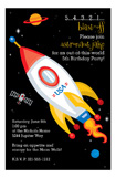 Rocket Ship Custom Birthday Invitations