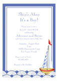 Ships Ahoy Its a Boy Sailboat Invitation