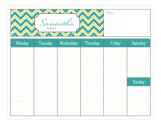 Simply Organized Weekly Personalized Calendars Pad
