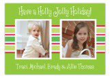 Small Stripes of Holiday Photo Postcard
