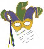 Mardi Gras Mask Party Invitation with Glitter
