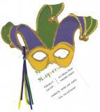 Mardi Gras Mask Party Invitation with Glitter