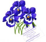 Pansies Floral Invitation with Glitter