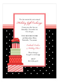 Stacked Gifts Black Polka Dot Christmas Invitations