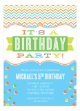 Stylish Chevron and Confetti Boy Invitation