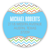Stylish Chevron Boy Round Sticker