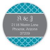 Stylish Teal Collage Round Sticker
