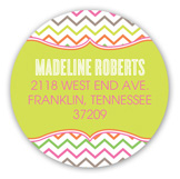 Sweet and Stylish Chevron Girl Round Sticker