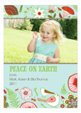 Sweet Aqua Floral Peace on Earth Photo Card