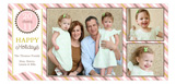 Sweet Pink Striped Banner Photo Card