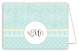 Teal Damask Monogram Folded Note Card