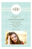 Teal Damask Monogram Photo Card