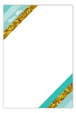 Teal Glitter Stripe Flat Note Card