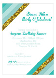 Teal Glitter Stripe Invitation