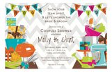 Gray Chevron Team Couples Baby Shower Invitations