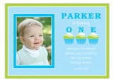 Three Blue Birthday Cupcakes Photo Invitation