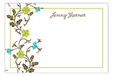 Trellis Teal Flat Note Card