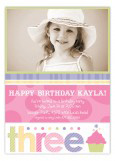 Turning Three Soft Pastels Photo Card
