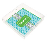 Turquoise and Green Zebra Band Square Lucite Tray