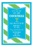 Turquoise and Lime Stripes Invitation