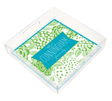 Turquoise and Lime Vintage Floral Square Lucite Tray