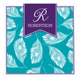 Turquoise and Purple Feathers Square Lucite Tray Insert