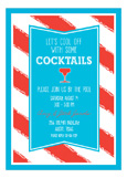 Turquoise and Red Stripes Invitation