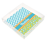 Turquoise and Yellow Chevron and Leopard Square Lucite Tray