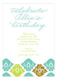 Turquoise Glitter Damask Invitation