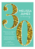 Turquoise Glitter Thirty Invitation