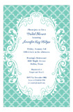 Turquoise Scalloped Wedding Shower Invites
