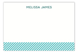 Turquoise Stripes Flat Note Card