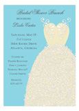 Turquoise Swirl Bridal Dress Invitation