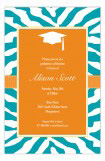 Turquoise Zebra Grad Invitation