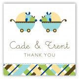Twin Boy Carriage Gifts Gift Tag