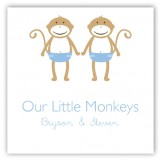 Twin Boy Monkey Pals Gift Tag