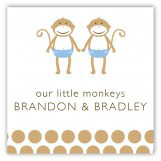 Twin Boy Monkey Pals Square Sticker