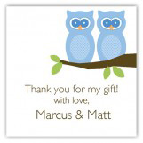 Twin Boy Perched Owls Square Sticker