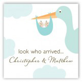 Twin Boy Stork in the Sky Gift Tag