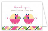 Twin Girl Carriage Gifts Folded Note Card