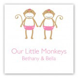 Twin Girl Monkey Pals Gift Tag