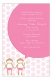 Twin Girl Monkey Pals Invitation
