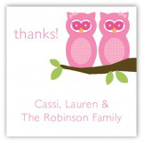 Twin Girl Perched Owls Gift Tag