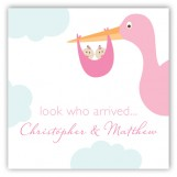 Twin Girl Stork in the Sky Gift Tag