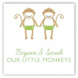 Twin Green Monkey Pals Gift Tag