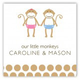 Twin Monkey Pals Square Sticker