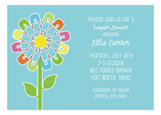 Unisex Diaper Pin Flower Invitation